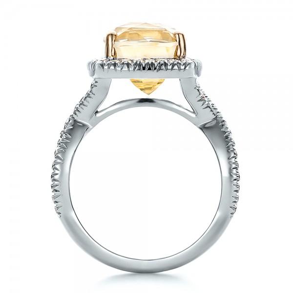 Custom Yellow Sapphire And Diamond Halo Engagement Ring 100594