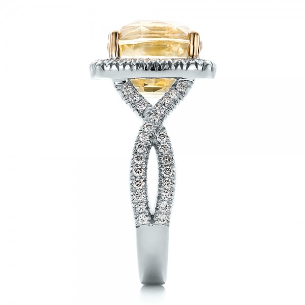 Custom Yellow Sapphire and Diamond Halo Engagement Ring - Side View