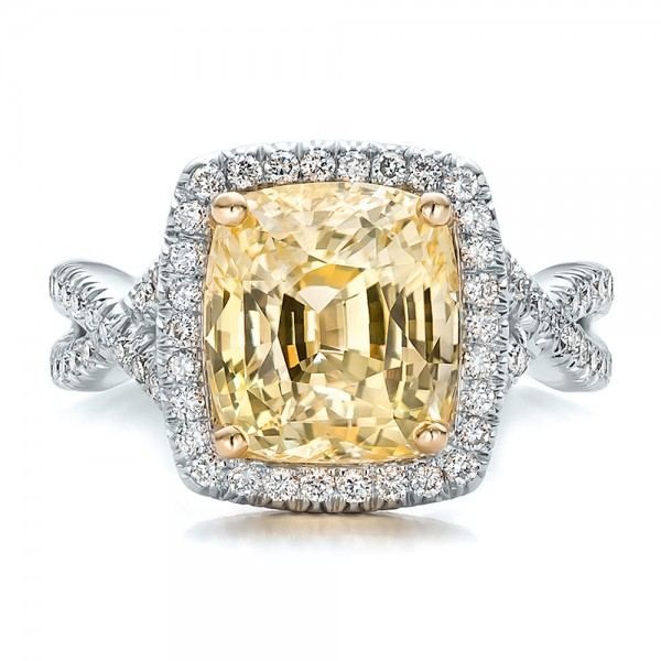 ... Custom Yellow Sapphire and Diamond Halo Engagement Ring - Top View ...