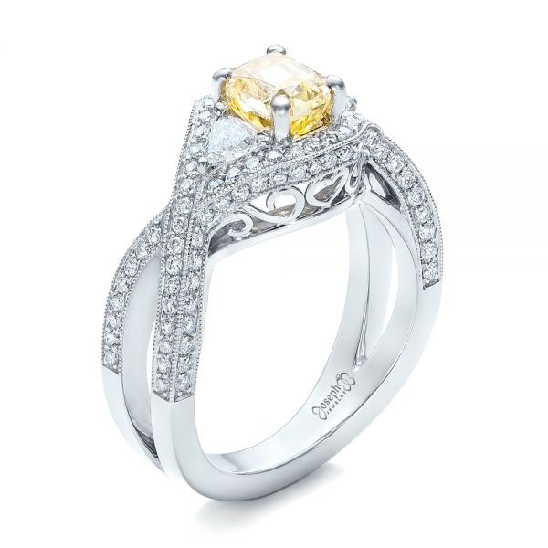 Custom Yellow and White Diamond Engagement Ring