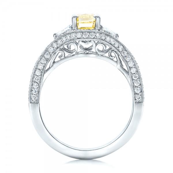 Custom Yellow and White Diamond Engagement Ring - Finger Through View