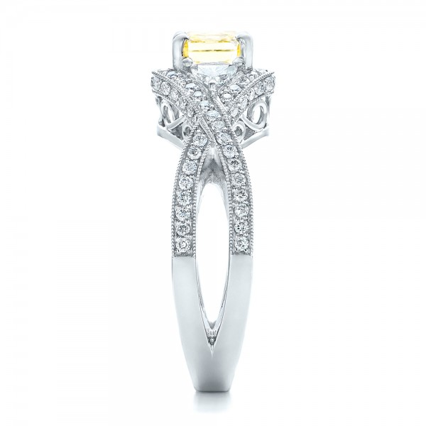 Custom Yellow and White Diamond Engagement Ring - Side View