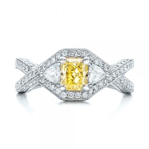 Custom Yellow and White Diamond Engagement Ring - Top View
