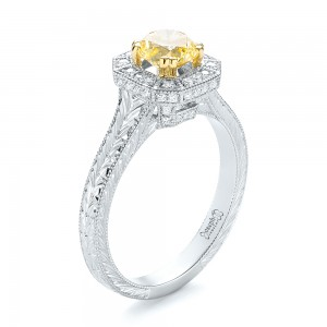 Custom Two-Tone Yellow and White Diamond Halo Engagement Ring