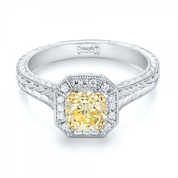 Custom Two-Tone Yellow and White Diamond Halo Engagement Ring - Laying View