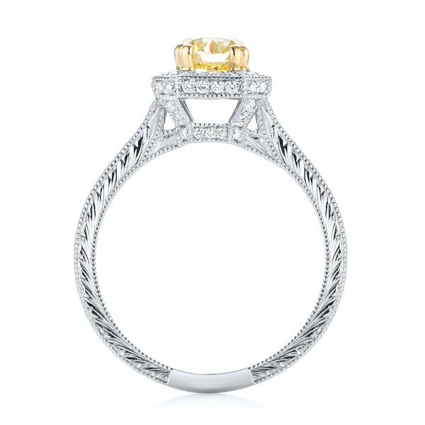 Custom Two-Tone Yellow and White Diamond Halo Engagement Ring - Finger Through View