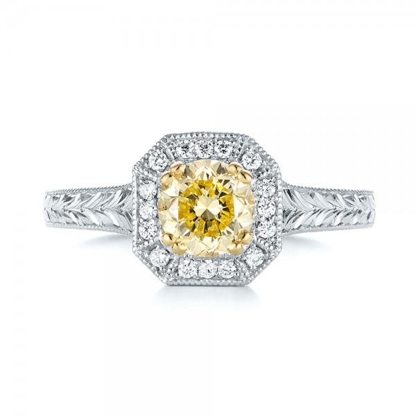 Custom Two-Tone Yellow and White Diamond Halo Engagement Ring - Top View