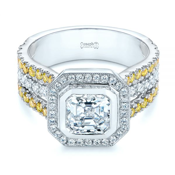Platinum And 14k White Gold Platinum And 14k White Gold Custom Yellow And White Diamond Two Tone Engagement Ring - Flat View -  105743 - Thumbnail