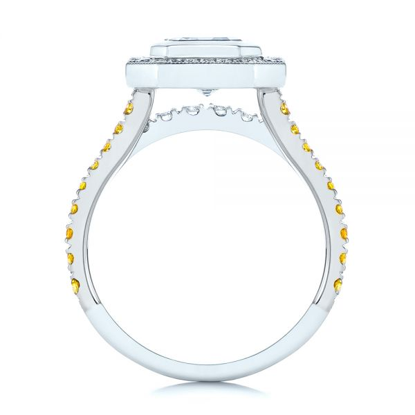 Platinum And 14k White Gold Platinum And 14k White Gold Custom Yellow And White Diamond Two Tone Engagement Ring - Front View -  105743 - Thumbnail
