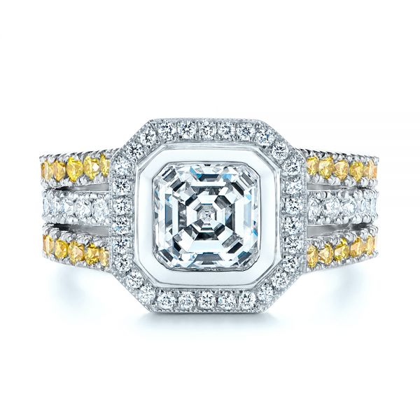 Platinum And 14k White Gold Platinum And 14k White Gold Custom Yellow And White Diamond Two Tone Engagement Ring - Top View -  105743 - Thumbnail