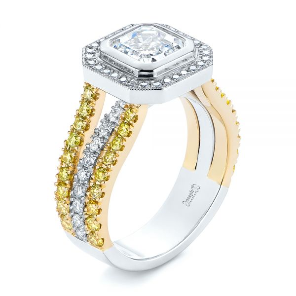 Custom Yellow and White Diamond Two Tone Engagement Ring - Image