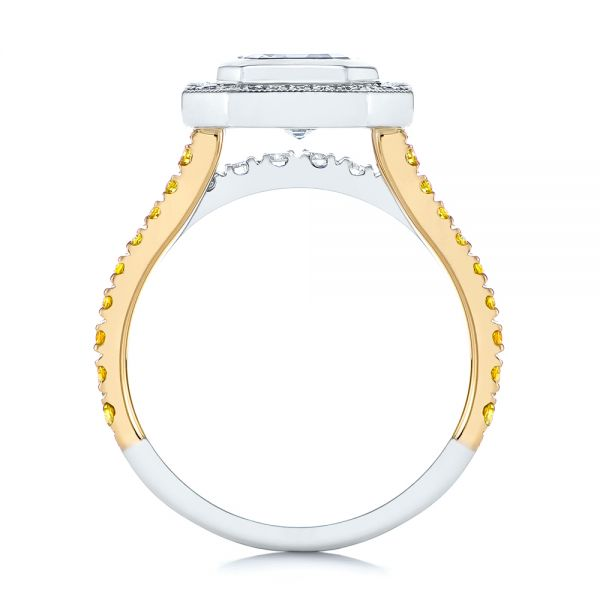 14K Gold And 14k Yellow Gold 14K Gold And 14k Yellow Gold Custom Yellow And White Diamond Two Tone Engagement Ring - Front View -  105743 - Thumbnail