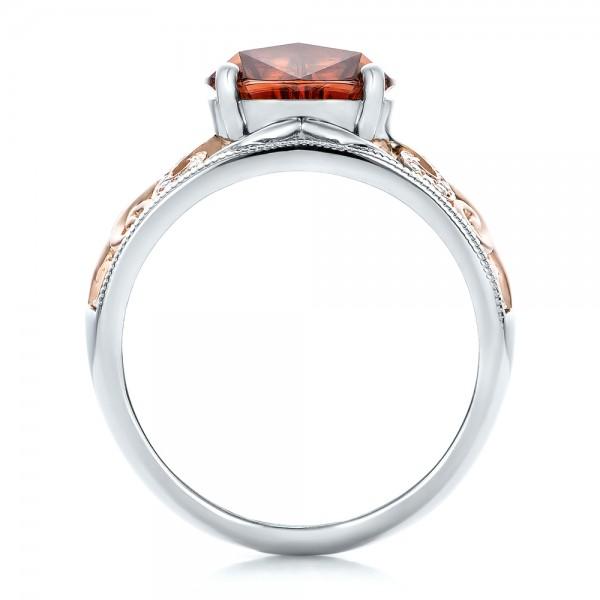 Custom Zircon and Diamond Two-Tone Wedding Ring - Finger Through View