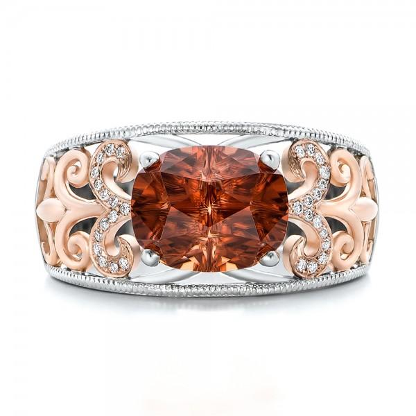 Custom Zircon and Diamond Two-Tone Wedding Ring - Top View