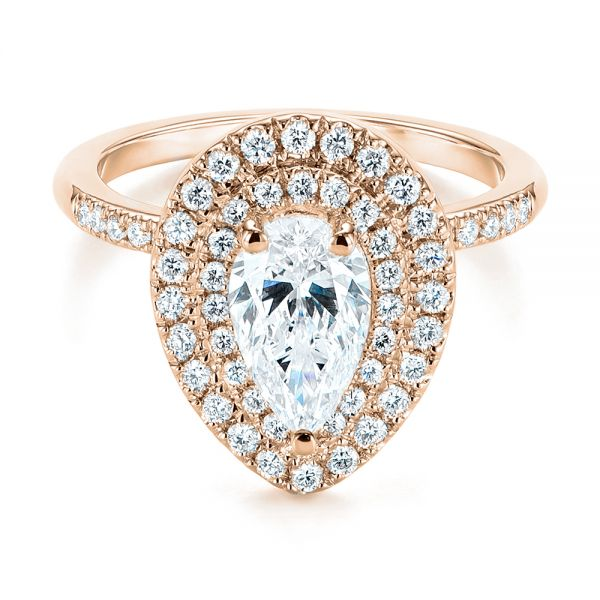 14K Rose Gold Dainty Double Halo Pear Diamond Engagement Ring - Flat View -  105121 - Thumbnail