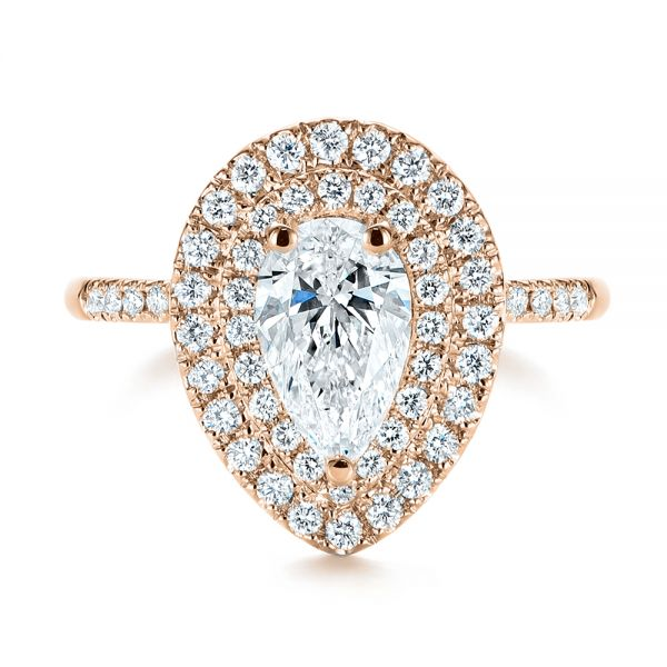 14K Rose Gold Dainty Double Halo Pear Diamond Engagement Ring - Top View -  105121 - Thumbnail