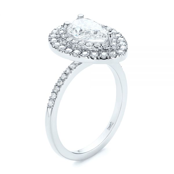 Dainty Double Halo Pear Diamond Engagement Ring - Image