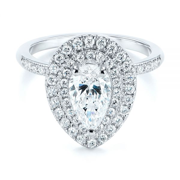 18K White Gold Dainty Double Halo Pear Diamond Engagement Ring - Flat View -  105121 - Thumbnail