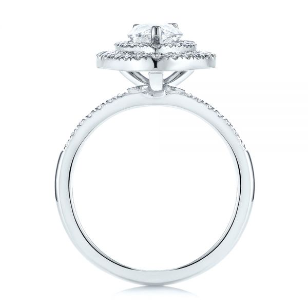 18K White Gold Dainty Double Halo Pear Diamond Engagement Ring - Front View -  105121 - Thumbnail