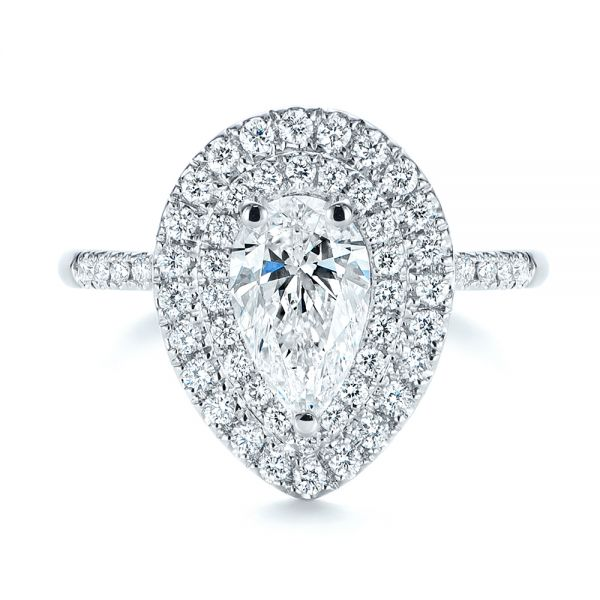 18K White Gold Dainty Double Halo Pear Diamond Engagement Ring - Top View -  105121 - Thumbnail