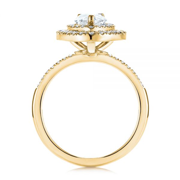 14K Yellow Gold Dainty Double Halo Pear Diamond Engagement Ring - Front View -  105121 - Thumbnail