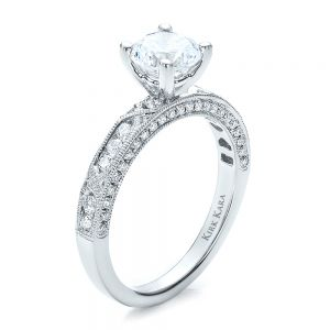 Diamond Channel Set Engagement Ring with Matching Wedding Band - Kirk Kara - Image