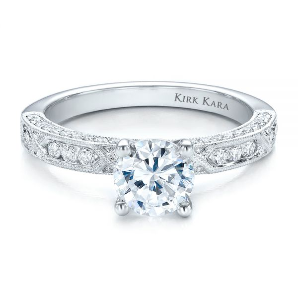 14k White Gold 14k White Gold Diamond Channel Set Engagement Ring With Matching Wedding Band - Kirk Kara - Flat View -