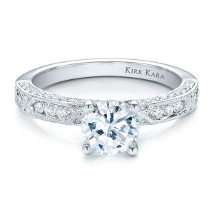 Diamond Channel Set Engagement Ring with Matching Wedding Band - Kirk Kara