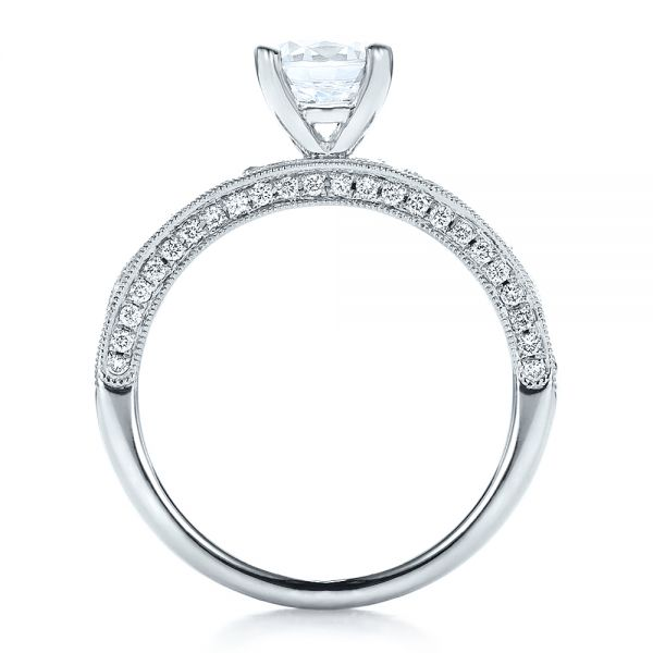 14k White Gold 14k White Gold Diamond Channel Set Engagement Ring With Matching Wedding Band - Kirk Kara - Front View -