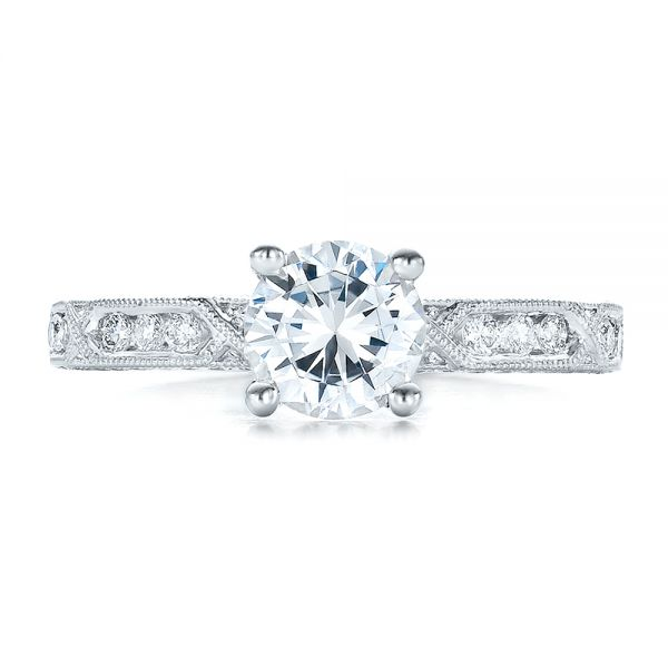 14k White Gold 14k White Gold Diamond Channel Set Engagement Ring With Matching Wedding Band - Kirk Kara - Top View -