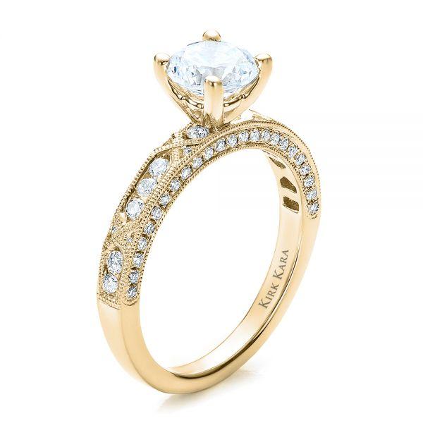 14k Yellow Gold Diamond Channel Set Engagement Ring With Matching Wedding Band Kirk Kara 100119 Seattle Bellevue Joseph Jewelry