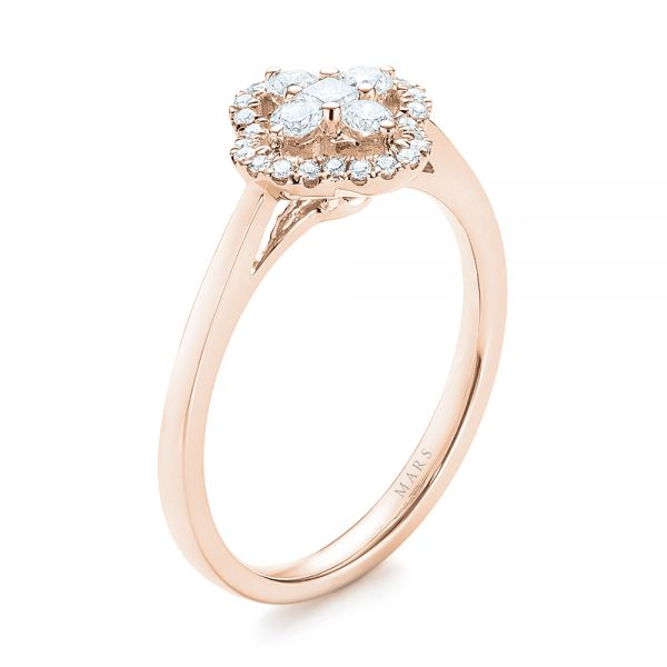 18k Rose Gold 18k Rose Gold Diamond Engagement Ring - Three-Quarter View -
