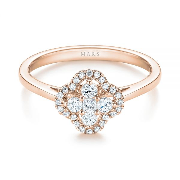 18k Rose Gold 18k Rose Gold Diamond Engagement Ring - Flat View -