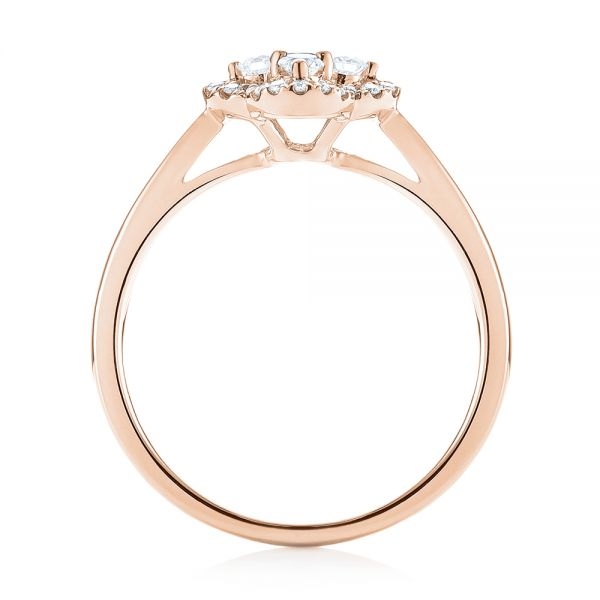 18k Rose Gold 18k Rose Gold Diamond Engagement Ring - Front View -