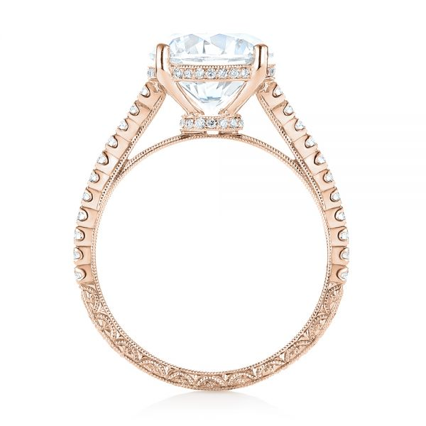 14K Rose Gold Diamond Engagement Ring - Front View -  103714 - Thumbnail