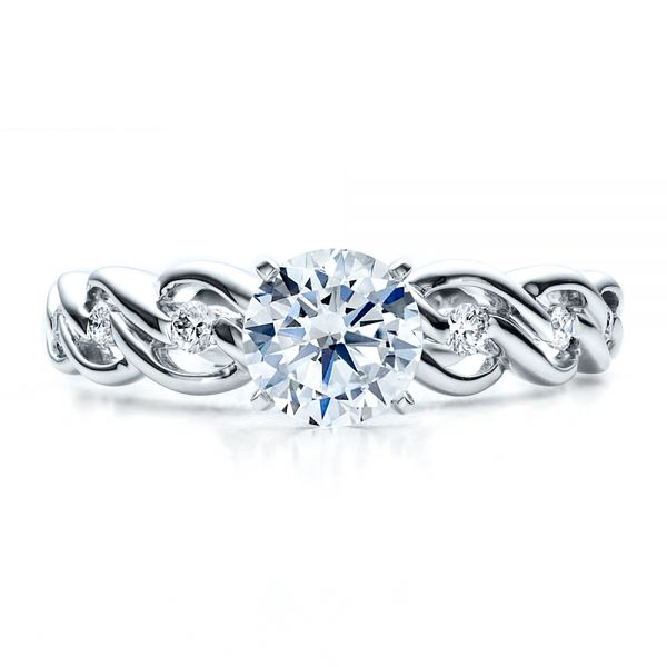 Diamond Engagement Ring - Vanna K - Top View -  1460 - Thumbnail
