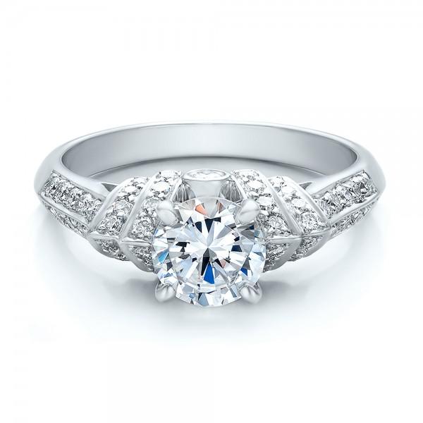 Diamond Engagement Ring - Vanna K - Laying View