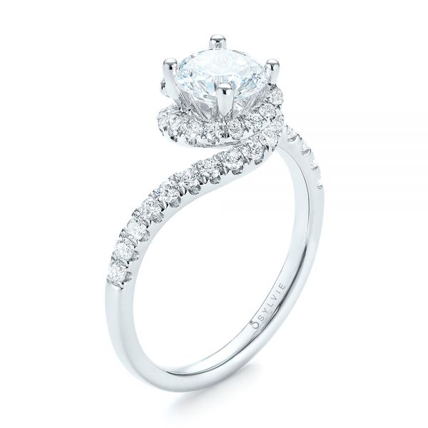 18k White Gold Diamond Engagement Ring - Three-Quarter View -