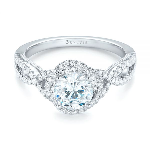 18k White Gold Diamond Engagement Ring - Flat View -