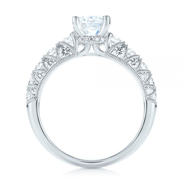18k White Gold Diamond Engagement Ring - Front View -