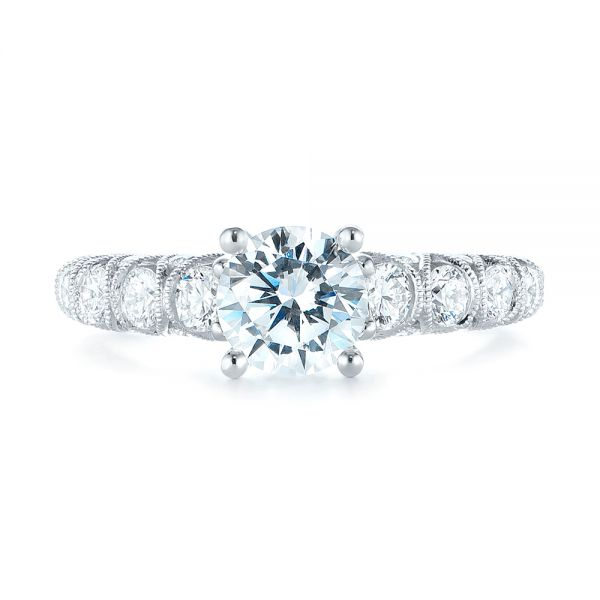 18k White Gold Diamond Engagement Ring - Top View -
