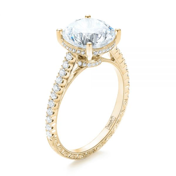 14K Yellow Gold Diamond Engagement Ring - Three-Quarter View -  103714 - Thumbnail