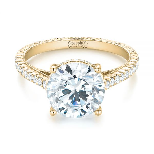 14K Yellow Gold Diamond Engagement Ring - Flat View -  103714 - Thumbnail