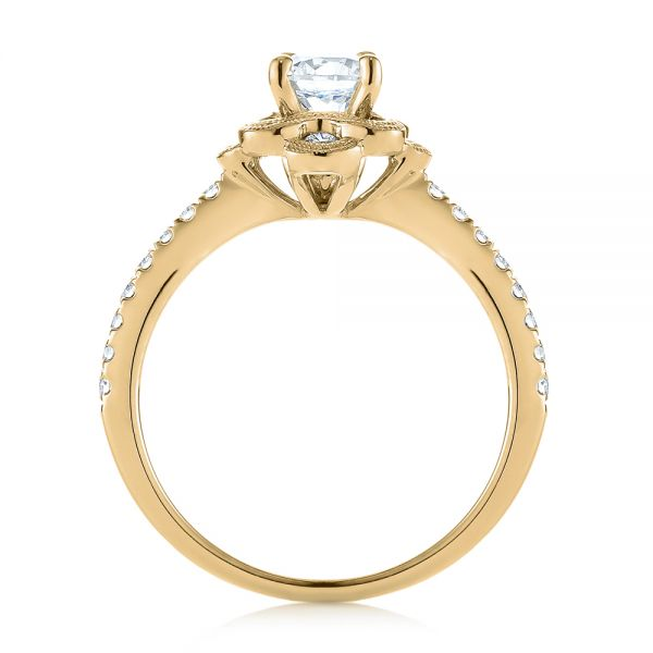 18k Yellow Gold 18k Yellow Gold Diamond Engagement Ring - Front View -