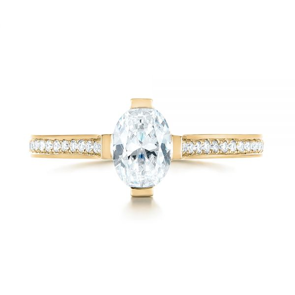 14k Yellow Gold 14k Yellow Gold Diamond Engagement Ring - Top View -