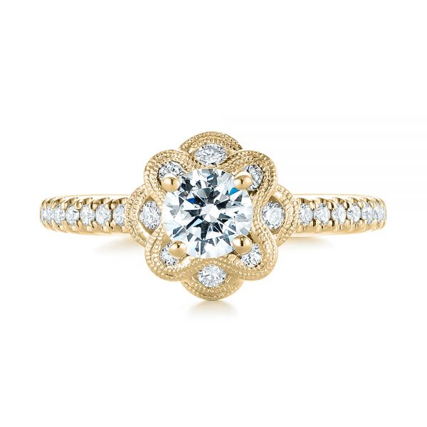 18k Yellow Gold 18k Yellow Gold Diamond Engagement Ring - Top View -