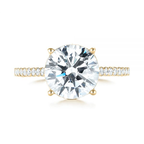 14K Yellow Gold Diamond Engagement Ring - Top View -  103714 - Thumbnail