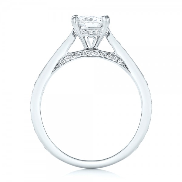 Diamond Engagement Ring - Finger Through View