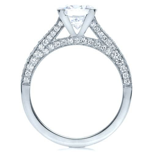 Diamond Engagement Ring - Finger Through View