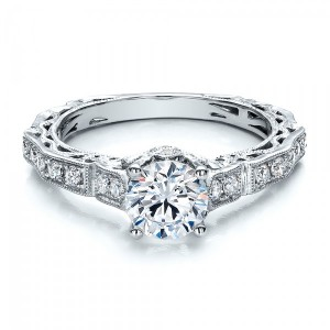 Diamond Filigree Engagement Ring - Vanna K
